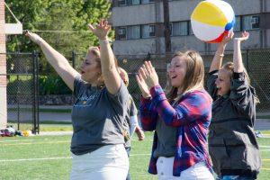 Mariah Heyden, Hannah Brown and Nikki Mohrmann celebrate sorority bid day last fall.