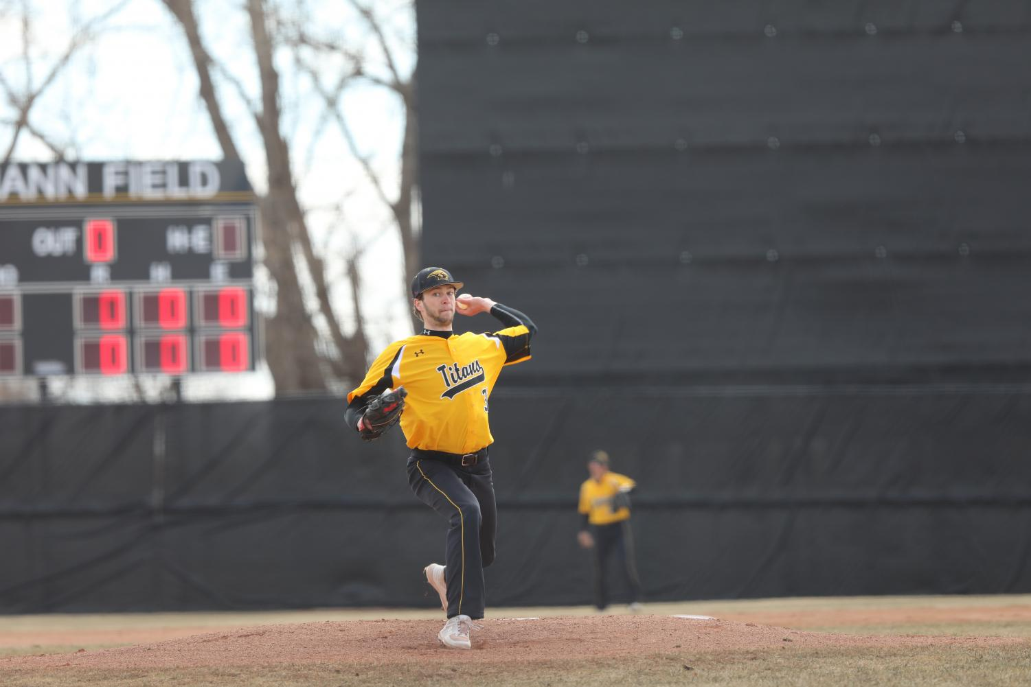 Chris Atwood throws a pitch versus the Lions. Atwood threw the tenth no hitter in UWO history and the first since 1995. He recorded 13 strikeouts on 88 pitches.