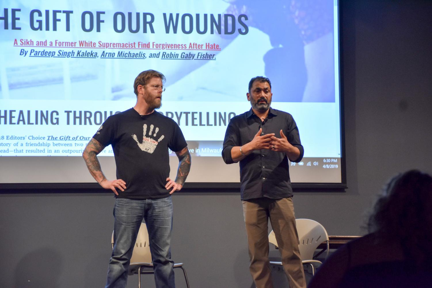 Arno Michaelis (left), a former white supremacist, and Pardeep Singh Kaleka, a witness of a hate crime, spoke on campus Monday.