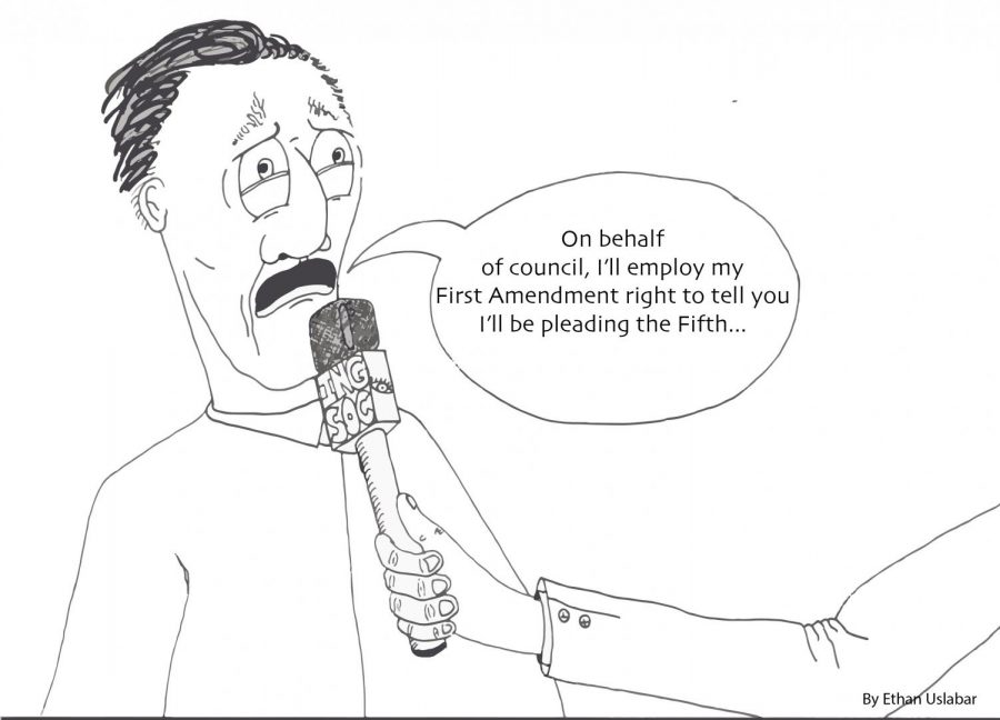 opinion cartoon, man speaking into microphone.