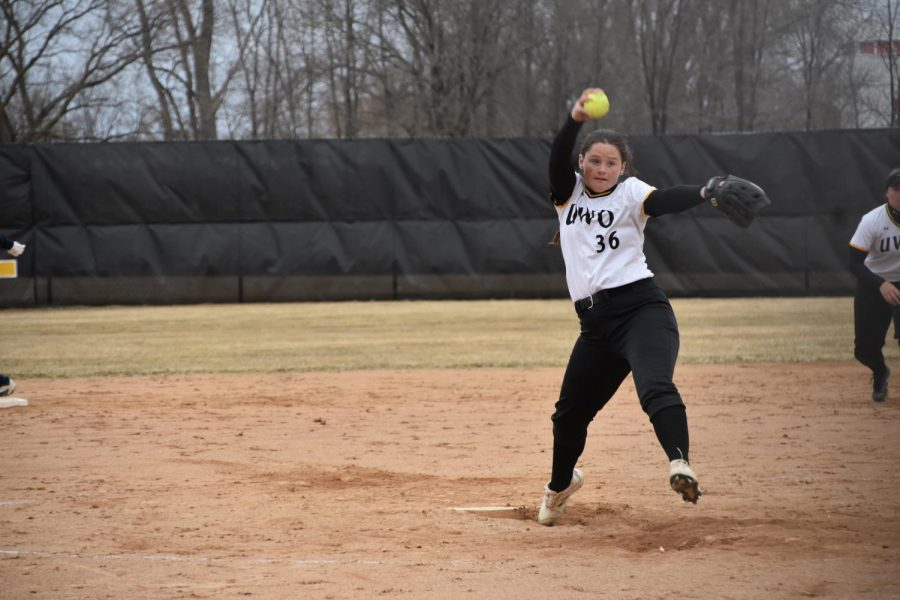 UWO junior Claire Petrus winds up for a pitch.