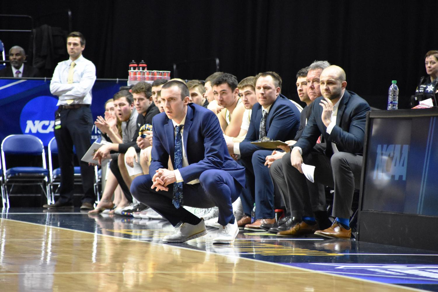 Head coach Matt Lewis is locked-in against Wheaton College in the 2019 NCAA semifinal game.