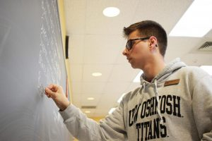 Sophomore math education student Shay Hendricks is a tutor in the soon-to-be defunded Swart 113 math lab.