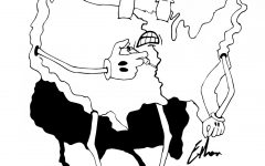 anthropomorphic U.S. map inserts needle into its
