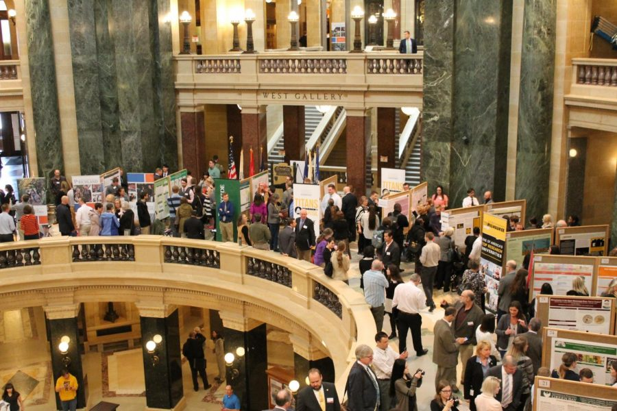 Oshkosh and Fox Valley students at the state capitol.