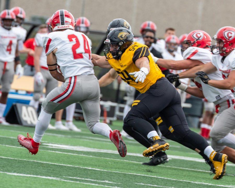 Titan linebacker runs after opponent