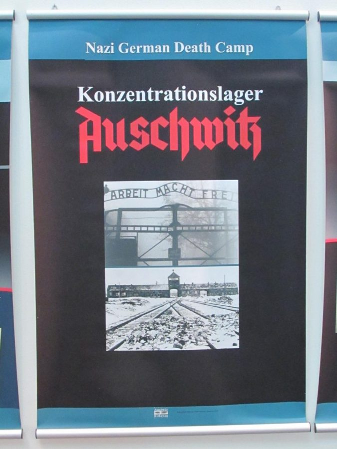 An Auschwitz poster panel part of the display documenting the development of Nazism.
