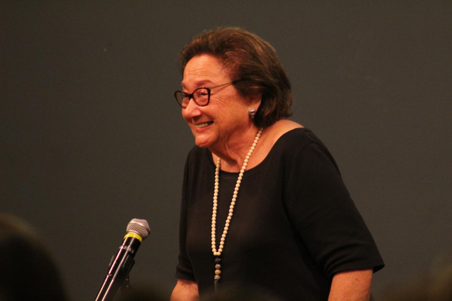 Eva Zaret, a survivor of the Holocaust, speaks with students in Reeve Memorial Union.