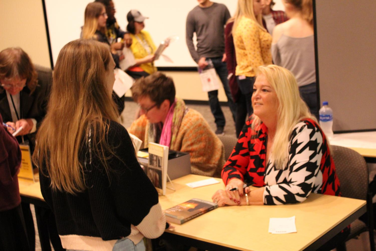Theresa Flores, a survivor of sex trafficking, speaks with students in Reeve Memorial Union.