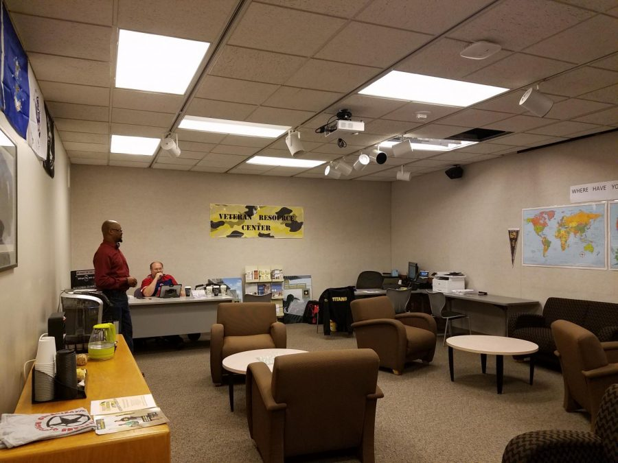 Coordinator Timber Smith and student employee Edward Hardin are in the newly-opened UWO-FC Veterans Resource Center.