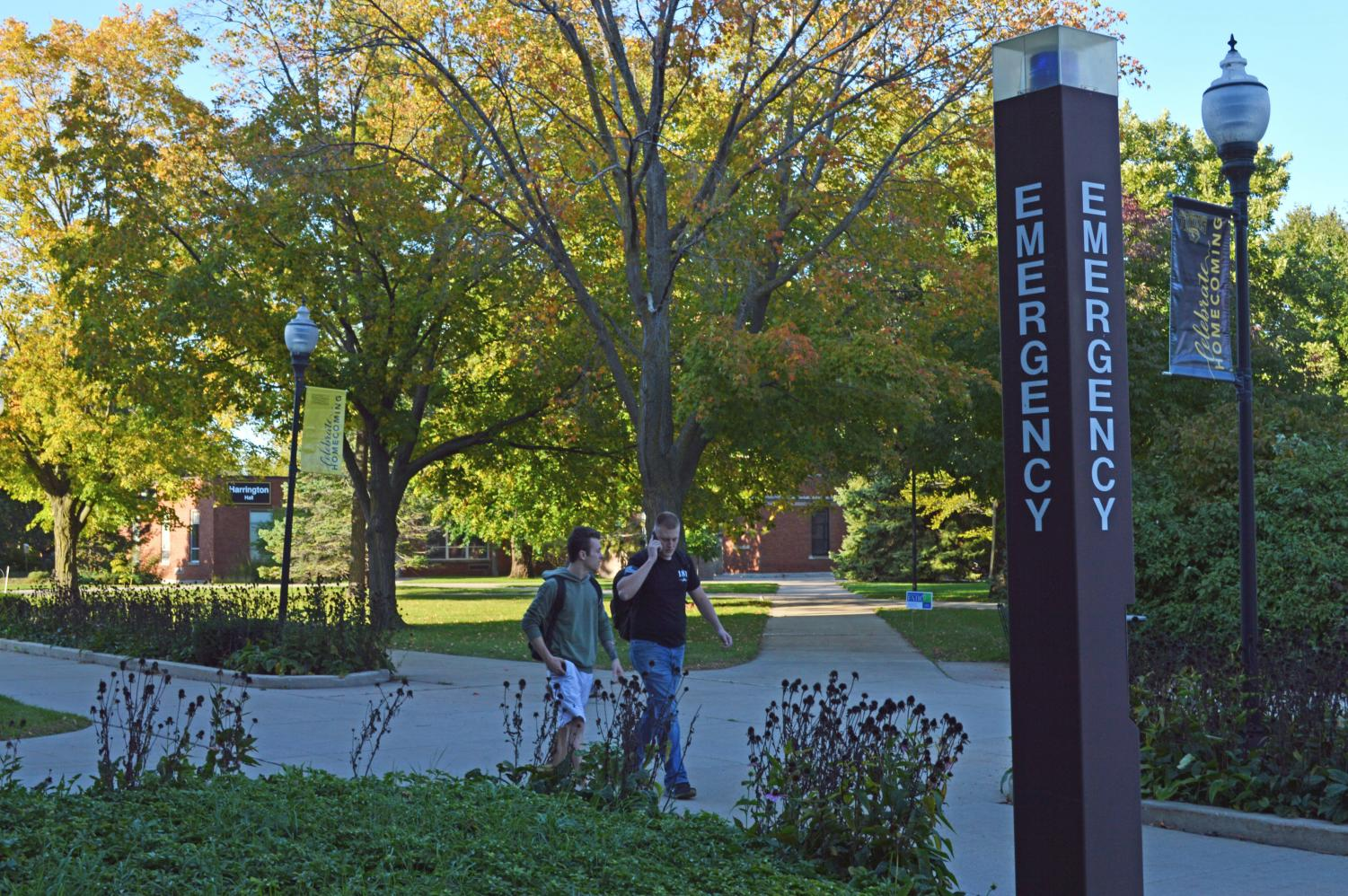 Blue light emergency phones are phasing out around campus. UP is promoting the UWO Mobile app.