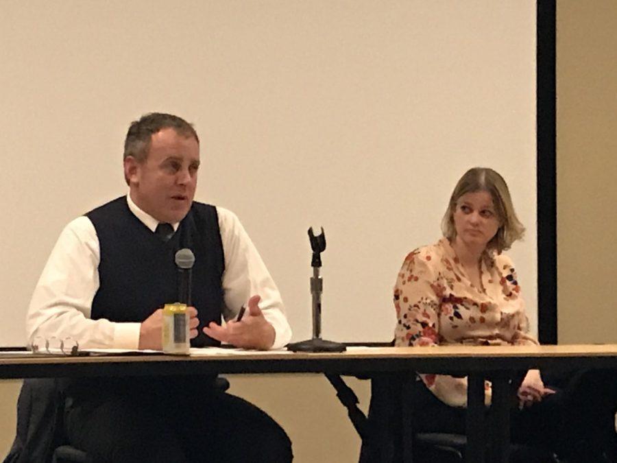 State Representatives Gordon Hintz and Katrina Shankland hosted a town hall at UW Oshkosh Tuesday night.