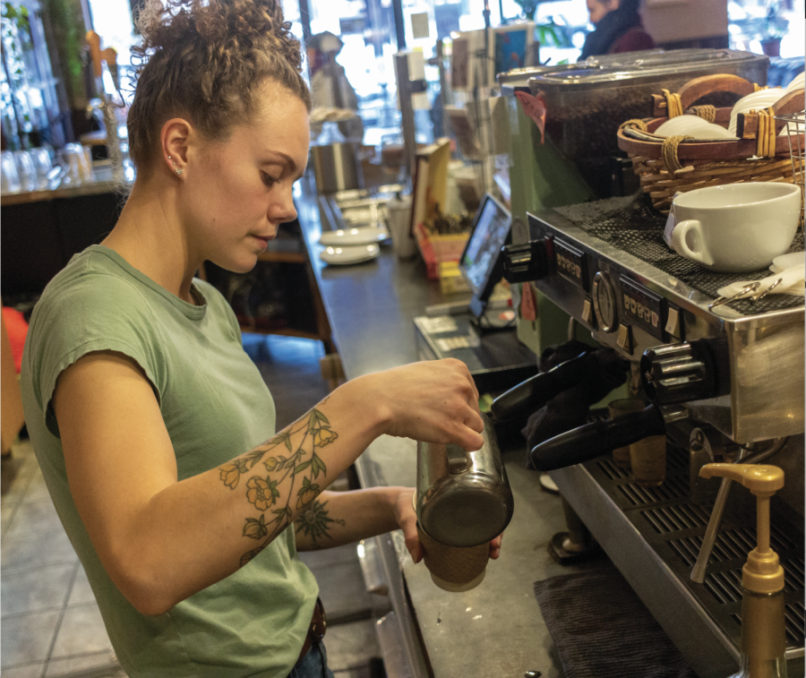 Planet Perk barista works to ensure an order is served to perfection.