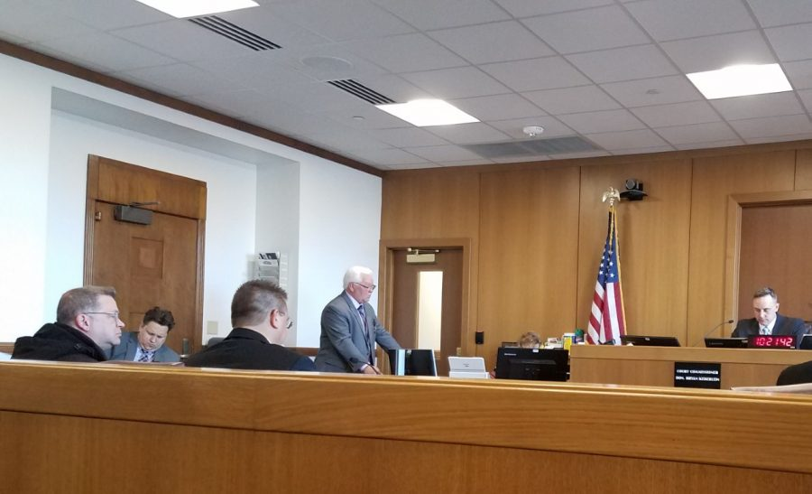 Former UW Oshkosh IT Specialist Michael Van Vonderen and his lawyer, Daniel Muza, appeared before Court Commissioner Bryan Keberlein on Feb. 6.