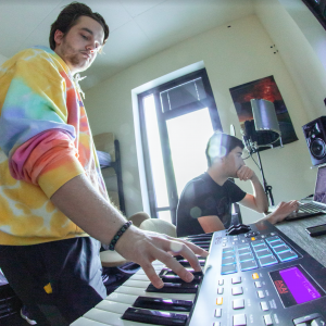 Michael Stensland (left) and Ben Baker (right) demo their new track,