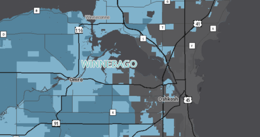 The light blue areas above are underserved with broadband access and the dark blue areas are unserved.