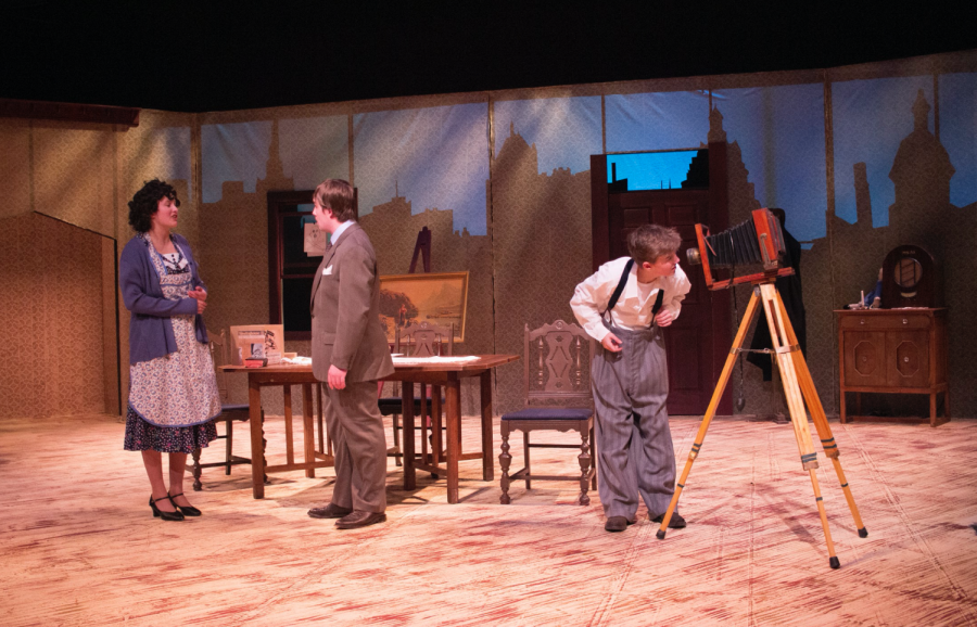 FROM LEFT: Ali Basham as Seta, Max Benitz as Aram and Dawson Fish as a young Vincent fill the stage as Aram confronts Seta.