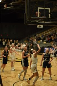 Olivia Campbell drives to the lane and finishes with a right-hand layup to in UW Oshkosh's 68-60 win over UW-Stout. Campbell had seven points, five rebounds, one assist and one steal.