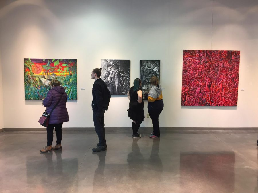 The UWO-Fox Cities' Alyward  Gallery's current exhibition features art by Andrew Linskens. Linsken's large-scale, psychedelic paintings have a great volume of detail and color. The exhibition will remain at the Alyward Gallery through April 3.