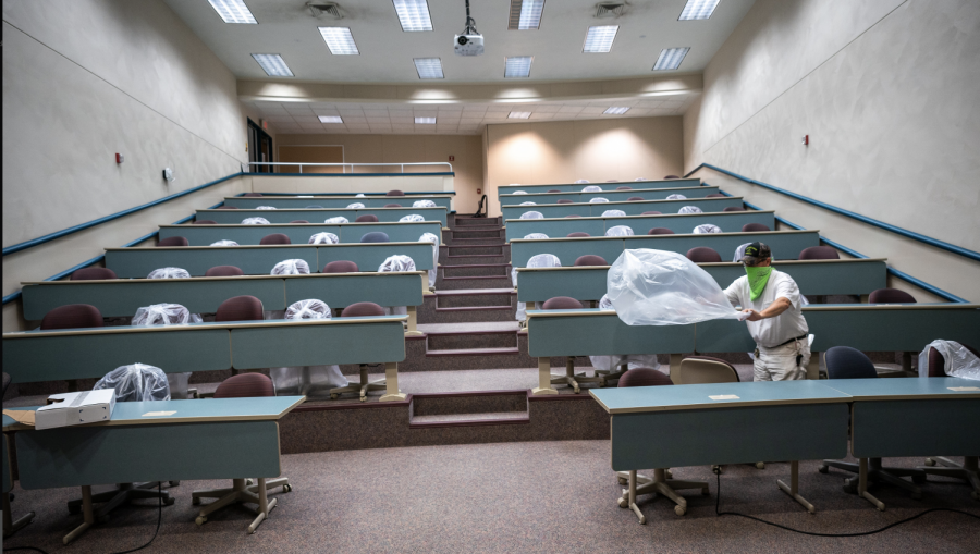 UWO Flickr — UW Oshkosh employees are busy preparing classrooms for social distancing.