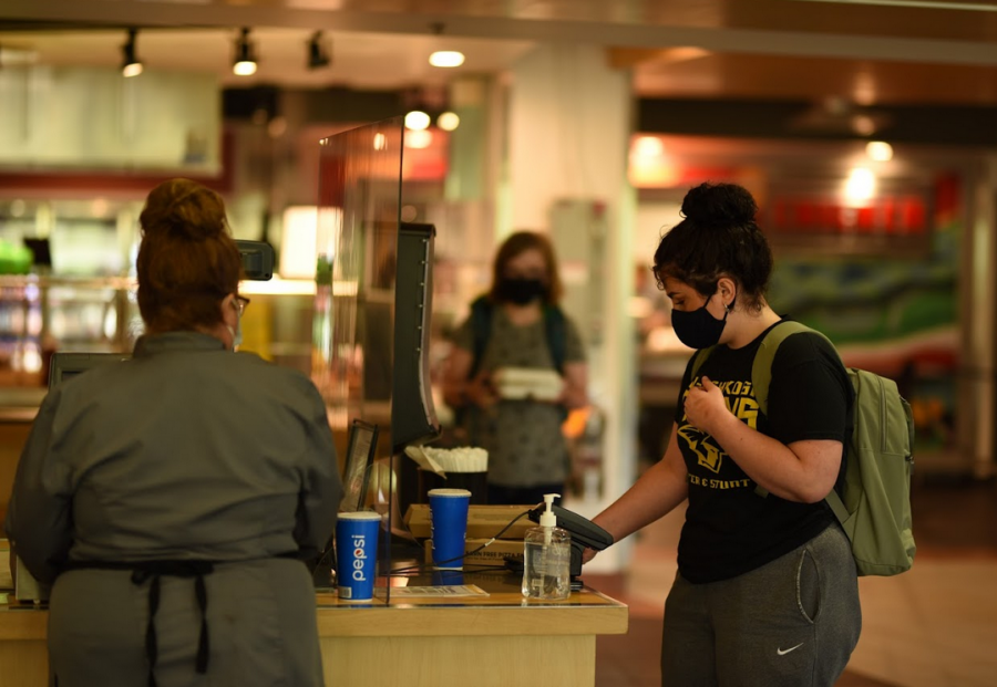 April Lee / The Advance-Titan — Masks are mandated inside all UWO  buildings to stop the spread of the coronavirus.