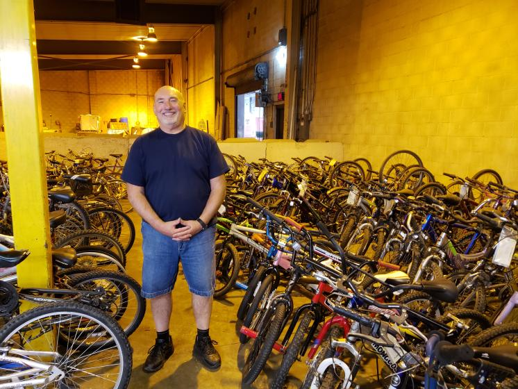 Kaitlyn Scoville / Advance-Titan --Retired police officer Steve Sagmeister has been director of the Oshkosh Community Bike Program for 10 years to help eliminate transportation barriers for those who do not have a driver's license.