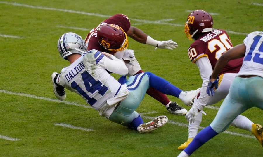 Andy Dalton, the Cowboys' backup quarterback, was placed on concussion protocol after taking this hit against the Washington Football Team.