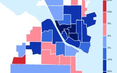 Graphic by Sophia Voight Over 30,000 people in Oshkosh voted in the presidential election. The map represents Oshkosh voting patterns in the 2020 presidential election by voting wards. Darker sections represent a wider margin of victory in each ward for either Donald Trump (R) or Joe Biden (D).