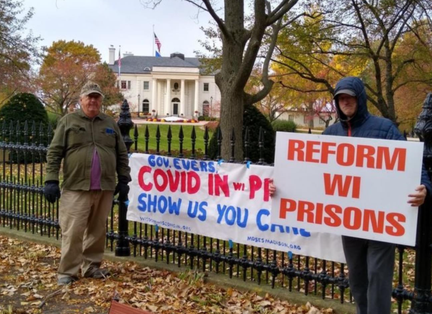Protesters gathered outside the Governor's mansion call for prison reform in Wisconsin. OSCI had 957 cases as of Nov. 25.