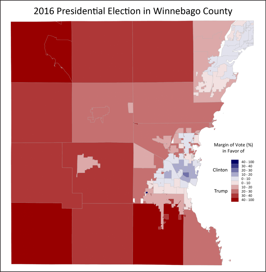 Winnebago County voting patterns in the 2016 presidential election show the rural-urban divide between Oshkosh and the rest of the county