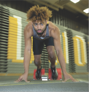 Carter Uslabar / Advance-Titan Sophomore sprinter Jaylen Grant currently holds the best Division III 60m dash time at 6.88 seconds. Grant was an indoor national qualifier last year, but the COVID-19 pandemic cancelled the event.