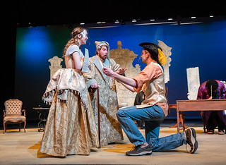 """Courtesy of UW Oshkosh / UWO Theatre Department """"The Imaginary Invalid"""" cast following COVID-19 safety protocol at their rehearsal on April 15. There is a large student discount on tickets, which are now available online."""