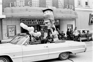 Tommy Titan in the 1972 Homecoming parade on Main Street. (Courtesy University Archives)