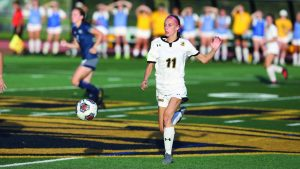 Courtesy of UWO Athletics Molly Jackson dribbles past a UW-Stout player on the home field.